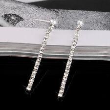 UK Bridal Silver Diamante Crystal Rhinestone Long Dangle Earrings Wedding Prom