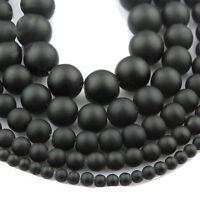 "Natural stone Matte Black Jewelry Making Loose Beads 15"" Handmade DIY Bracelets"