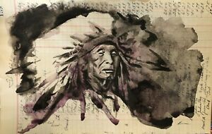 Red Arrow | Ink On Historical 1928 Ledger | Dylan Cavin |Choctaw