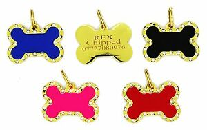 Personalised Engraved ID Pet Tags Coloured Bone Bling Diamante Crystals Gold UK