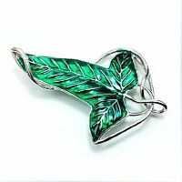 Lord of The Rings Green Leaf Elven Pin Brooch Pendant With Chain Necklace