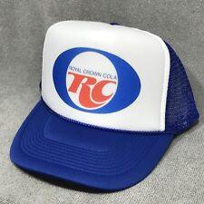 RC Royal Crown Cola Soda Pop Vintage Trucker Hat Retro Snapback Cap Blue & White
