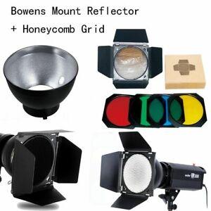 US Godox Bowens Mount Reflector + Barn Door Honeycomb Grid Filter f Studio Flash