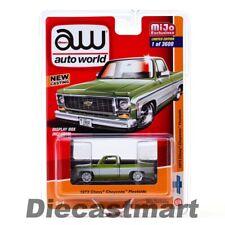 Auto World 1:64 1973 Chevy Cheyenne Fleetside Pickup Truck Diecast CP7589 Green