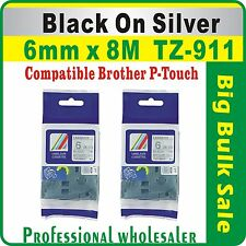 6mm x 8m Brother Black on Silver Compatible TZ-911 P-Touch Laminated Label Tape
