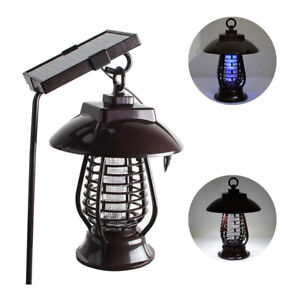 Solar Powered LED Mosquito Killer Light Insect Repeller Bug Zapper Garden Lamp