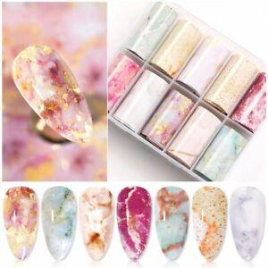 Marble Design Foils Nail Set Transfer Sticker Kit Flower Adhesive Paper Wraps