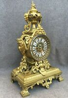 Heavy antique french 19thcentury clock gilded bronze Naploeon III faun 10lb