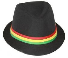 Rastafarian Colored Band Fashion Black Fedora Hat Medium