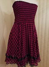 Otto Mode Strapless Dress Size 10 Pink & Black Ribbon & Tulle Detailed Hem