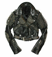New Handmade Men Full Red Punk Silver Long Spiked Studded Leather Brando Jackets