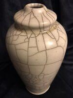 """MCM Raku Studio Art Pottery Stoneware Crackle Vase Urn Lamp Base 12"""" Signed"""