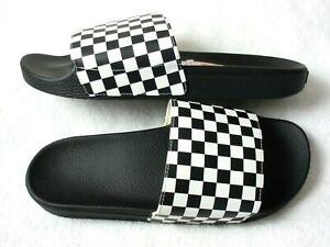 Vans Mens Slide On Classic Checkerboard Flip Flop Slides Black White Waffle NWT