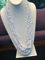 Vintage Necklace White 3 Strand Lucite Bead  Link Sweater Necklace 28
