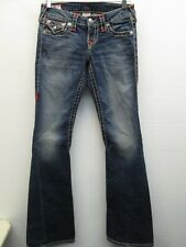EUC True Religion Women's 25 Joey Super T fat red stitch Flare Jeans USA Made