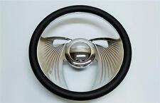 """1967 - 1994 GM Chevy 14"""" Chromed Billet Aluminum Steering Wheel Kit Leather Wrap"""