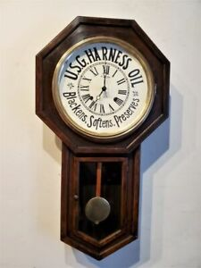 Antique 8 Day Gilbert Advertisement Schoolhouse Regulator Clock Long Drop Works