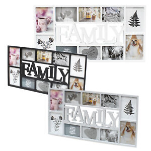 3D Family 10 Photo Frame Collage Aperture Black White Picture Wall Hanging Album