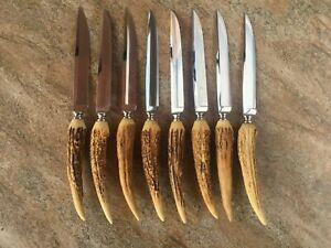 Set of 8 ANTON WINGEN Jr SOLINGEN GERMANY Steak Knives DEER ANTLER HANDLE Unused