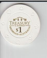 $1 Treasury Casino - Brisbane - Casino Chip Suit Motif on edge