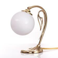 Art Nouveau Nachttischlampe Berliner Messing mit Opalglas Kugel