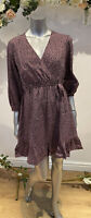 Influence Dress Size UK 12 & 18 Mauve In Ditsy Leopard Print Wrap Front GL53