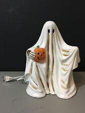 Vintage Lighted Authentic Dept 56 Halloween Porcelain Ghost Jack-o-Lantern
