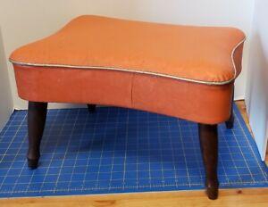Vintage Small Mid Century Orange Vinyl Footstool