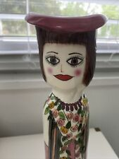 "Susan Paley Ganz Casa Bella Ceramic Woman Vase 10� Pink Black Dress ""Joyce�"
