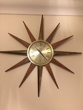 VINTAGE RETRO SMITHS CLASSIC SUNBURST STAR BURST BATTERY TEAK WALL CLOCK WORKING