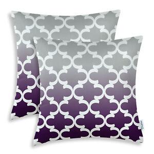 2Pcs Gray Deep Purple Cushions Covers Pillows Shells Accent Geometric 45 x 45cm