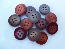 12 VINTAGE CASEIN TABLET BUTTONS MIXED FUN MARBLED COLORS CRAFTS SEWING NOS 14mm