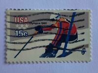 VINTAGE STAMP💎1980💎15 cent Winter Olympics: Downhill Skier #1796💎