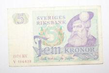 SUEDE - SVERIGE - BILLET BANKNOTE - 5 KRONOR - 1976
