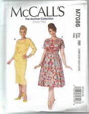 McCall's Sewing Pattern 7086, Retro 1963 Dresses, Variations, Sizes 18 - 24, New