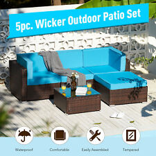 5pc Outdoor Furniture Set Sectional Sofa Table for Yard Patio More Walnut