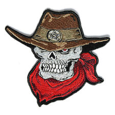 Embroidered Cowboy Skull Sew or Iron on Patch Biker Patch