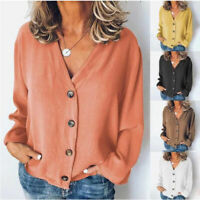 Long Sleeve T-Shirt Down Cardigan V Neck Blouse Womens Casual Button Loose Tops
