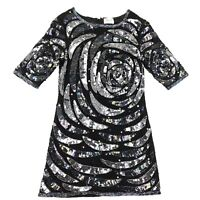 TopShop Collection Beaded Dress Size 2 Black Iridescent Sequins Womens
