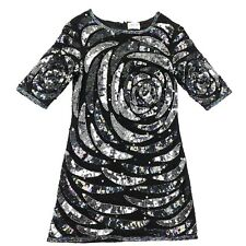 Dress Up TopShop Collection Beaded Dress Size 2 Black Iridescent Sequins New