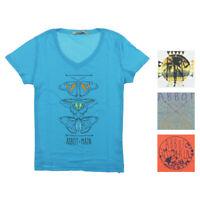 Abbot & Main Womens Short Sleeve Graphic V-Neck T-Shirt