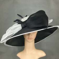 Black & White Sinamay and Silk Wide Brim Kentucky Derby Hat Church Bridal in USA