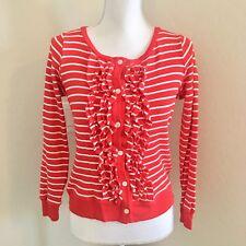 Pendleton Womens Size XS Cotton Ruffle Front Cardigan Sweater Long sleeve stripe