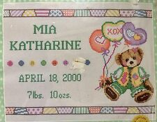 Janlynn Counted Cross Stitch Kit PATCHWORK BEAR BIRTH ANNOUNCEMENT Delightful !