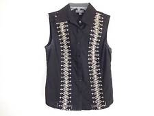 Classique Entier Black sleeveless button down shirt Beige stitching design SZ 2