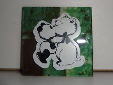 "Vintage Panda Bear Hug 1970s/80s 2""x2"" Carnival Mirror Prize hand cut glass Tile"