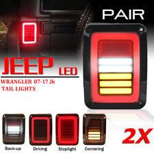 LED Tail Lights Smoke Rear Brake Turn Signal Reverse JEEP Wrangler JK 2007-2017