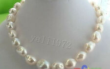 "HUGE 13-15MM WHITE BAROQUE FRESHWATER PEARL NECKLACE 18"" 925 silver clasp"