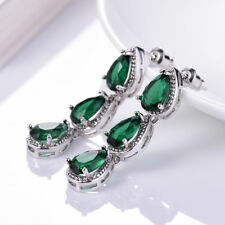 New Vintage Women Green Emerald Crystal Engagement Silver Dangle Stud Earrings