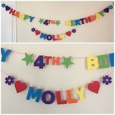 Personalised Birthday Bunting / Banner - Rainbow Colours - Single Name & Age